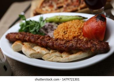 Delicious traditional oriental turkish kebap and shashlik skewer