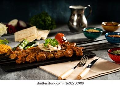 Delicious traditional oriental turkish kebap sis kebap