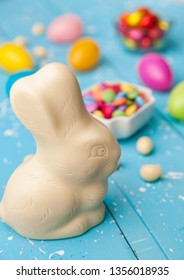 Delicious and traditional white chocolate Easter holiday bunny,