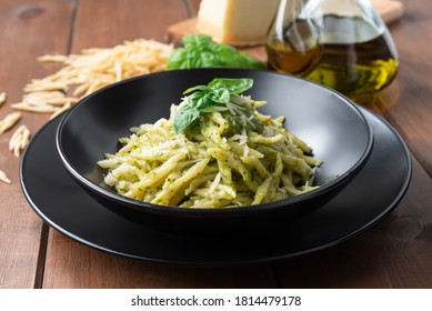 Delicious trofie pasta with pesto sauce, Italian Food