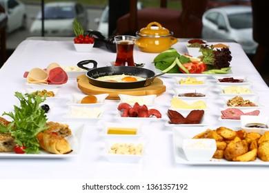 Delicious Turkish breakfast with Turkish tea
