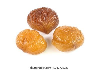 Delicious Turkish candied chestnut  ( Kestane Sekeri ) or marron glace. Isolated on white background.