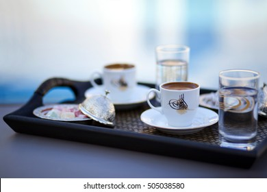 Delicious Turkish coffee in a traditional porcelain cup