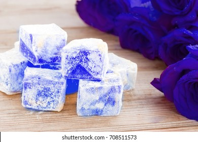 Delicious Turkish Delight with blue rose flower