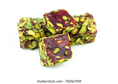 Delicious Turkish delight with pomegranate aroma and pistachio nuts
