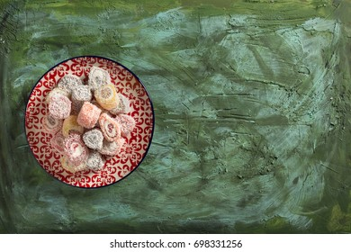 Delicious Turkish Delights on Green Background