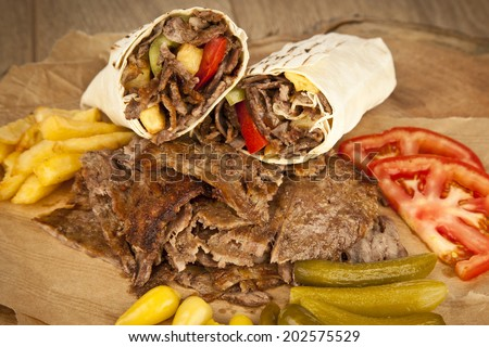 delicious turkish doner kebab grilled meat の写真素材 今すぐ編集
