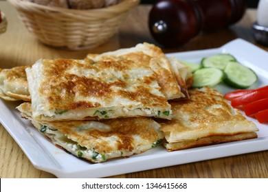Delicious Turkish Food Gozleme - Gozleme stuffed pastrie