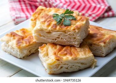 Delicious Turkish food; Tray pastry; (Turkish name; Su boregi)