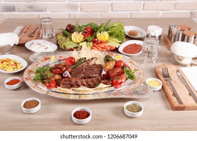 Delicious Turkish Kebabs And Excellent Food / Adana Kebab / Lamb Kebab / Sis Kebab /