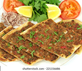 Delicious Turkish Pizza. ( Lahmacun or Etli ekmek )