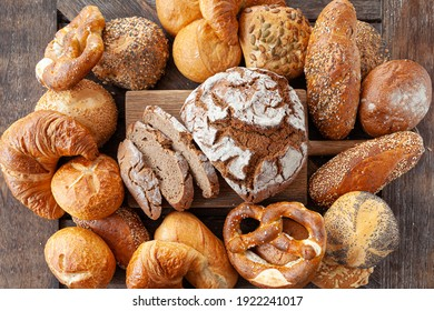 Delicious variety of German breads and bread rolls