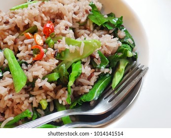 Delicious vegetable fried rice - traditional Thai style food : Selective focus