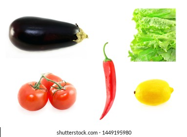 Delicious vegetables photographed close-up of eggplant, lettuce, tomatoes , red pepper and lemon