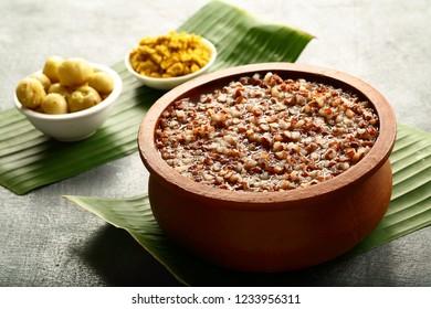 Delicious vegetarian food- red rice porridge- congee,kanji