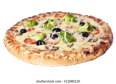 delicious vegetarian pizza, isolated on white background with selective focus.
