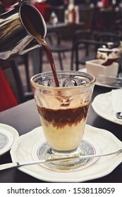 Delicious Viennese affogato coffee dessert with a scoop of vanilla ice cream
