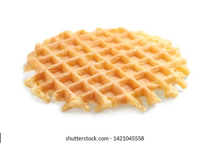 Delicious waffle for breakfast on white background