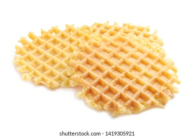 Delicious waffles for breakfast on white background