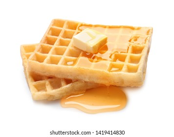 Delicious waffles with butter and honey on white background