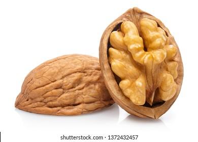 Delicious walnut, isolated on white background