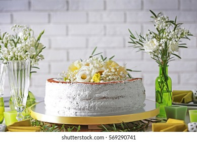 Delicious wedding cake on beautifully served table, closeup
