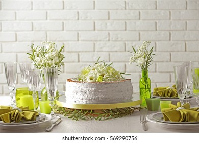 Delicious wedding cake on beautifully served table