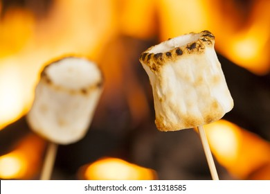 Delicious White Fluffy Roasted Marshmallows in front of a fire