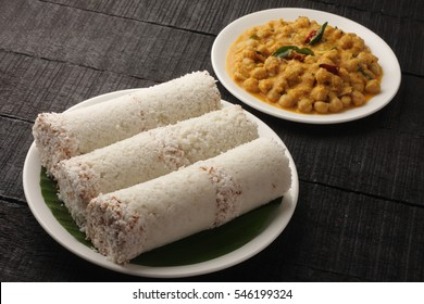 Delicious white rice puttu from Kerala cuisine.