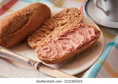 delicious whole grain bread with pate