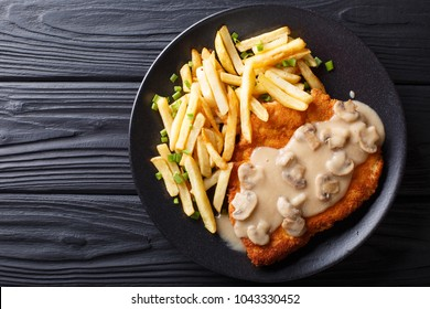 delicious Wiener Hunter schnitzel with sauce and french fries close-up on a plate. horizontal top view from above