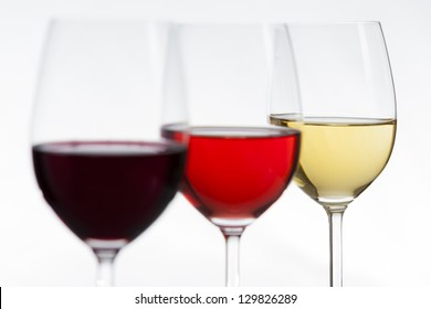 Delicious wines of all colors, focus on white wine