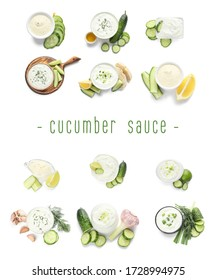 Delicious yogurt sauce with cucumber on white background
