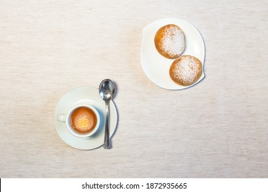 The deliciuos italian morning coffee
