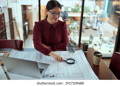Delighted female person keeping smile on her face while working at new project