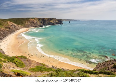 Delightful beach of Arrifana, for surfing in Portugal.