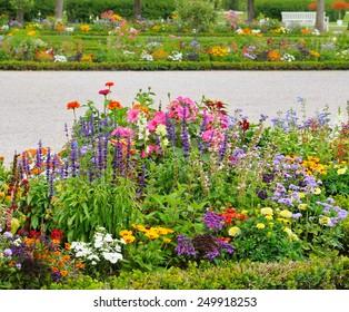 delightful flower bed in the summer park