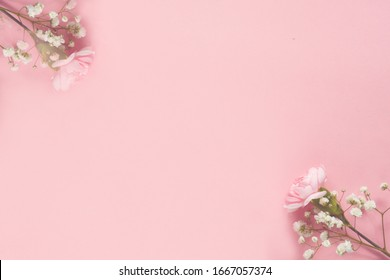Delikate pink flowers on powder pink background.  Copy space.