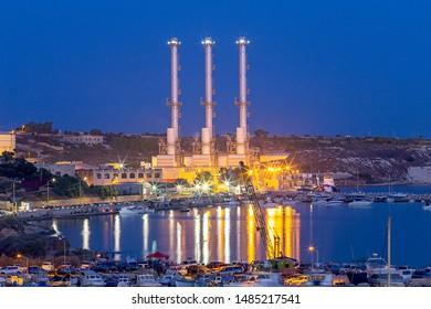 Delimar Power Station in night illumination. Marsaxlokk. Malta.