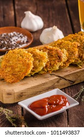 Delish potato pancakes with ketchup, crispy pancakes from potato, fried