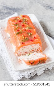 Delisius salmon terrine with cream cheese and cucumber