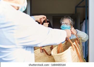 Delivering food to senior citizens in quarantine during Covid-19 Coronavirus epidemic