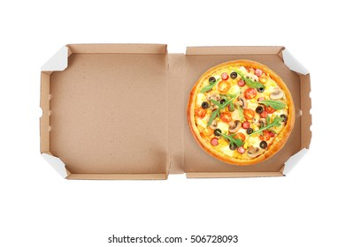 Delivery box with delicious pizza on white background