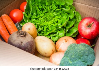 Delivery box. Fresh fruits vegetables.