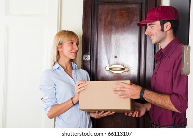 Delivery Boy with Box for Young Woman