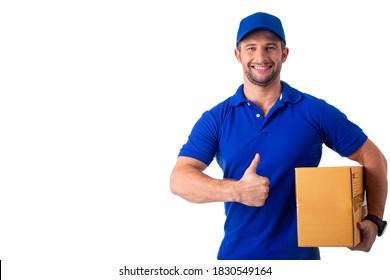 Cuerpo de reparto con una caja de correo para enviar al cliente.La unidad de color azul forma la felicidad del personal con su trabajo.Sube el uniforme.
