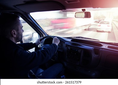 Delivery cargo service truck driver on the road