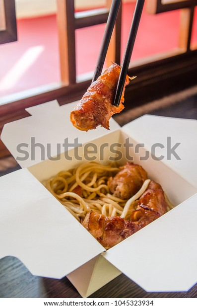 Delivery Chinese Food White Boxes Eating Stock Photo Edit