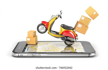 Delivery concept. Fast urban delivery. Motorbike with cardboard box. 3d illustration
