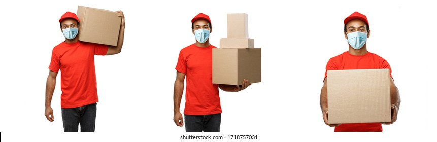 Delivery Concept - Set of Portrait of Happy African American delivery man with face mask in red cloth holding a box package. Isolated on white studio Background. Copy Space